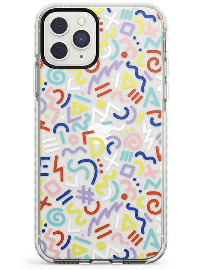 Colourful Mixed Shapes Retro Pattern Design Impact Phone Case for iPhone 11 Pro Max