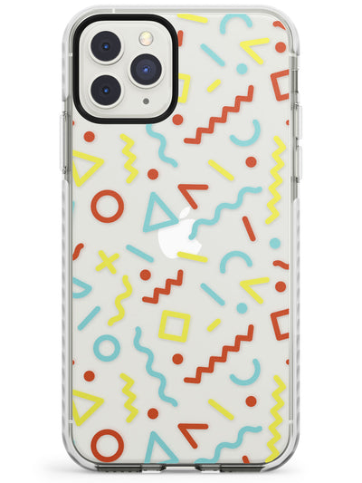 Three Colour Squiggles Memphis Pattern Design Impact Phone Case for iPhone 11 Pro Max