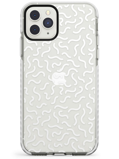 White Wavy Squiggles Memphis Retro Pattern Design Impact Phone Case for iPhone 11 Pro Max