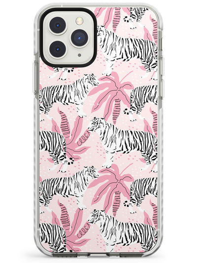 White Tigers on Pink Pattern Impact Phone Case for iPhone 11 Pro Max