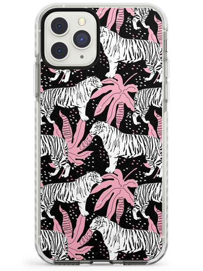 White Tigers on Black Pattern Impact Phone Case for iPhone 11 Pro Max