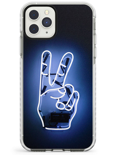 Peace Sign Hand Neon Sign Impact Phone Case for iPhone 11 Pro Max