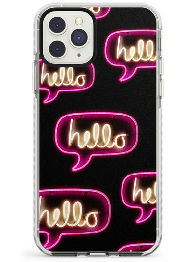 """Hello"" Speech Bubble Pattern Neon Sign Impact Phone Case for iPhone 11 Pro Max"