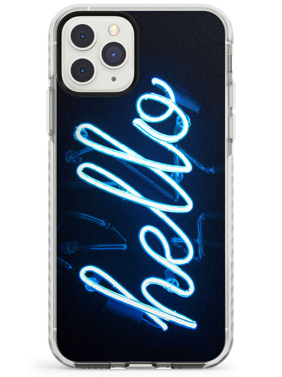 """Hello"" Blue Cursive Neon Sign Impact Phone Case for iPhone 11 Pro Max"