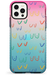 Boob Pattern (Mixed Colours) Pink Fade Impact Phone Case for iPhone 11 Pro Max