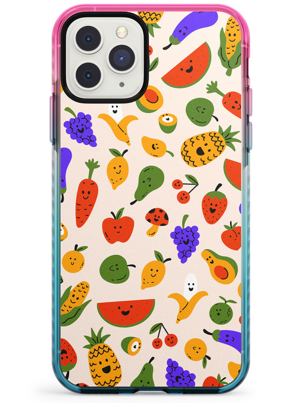 Mixed Kawaii Food Icons - Solid iPhone Case Pink Fade Impact Phone Case Warehouse 11 Pro Max