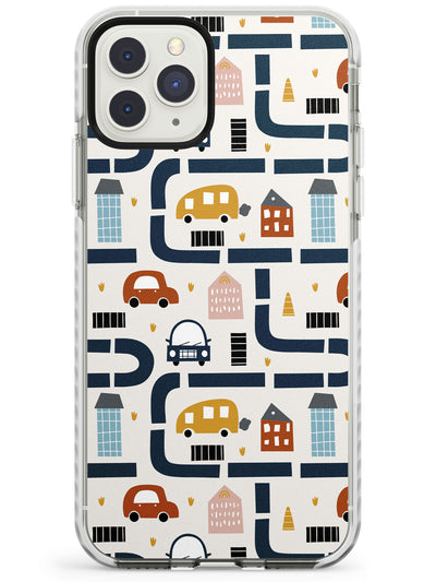 Cute Scandinavian Patterns: Cars & Roads Impact Phone Case for iPhone 11 Pro Max