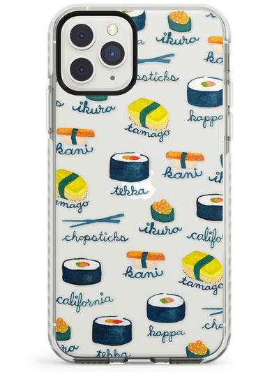 Watercolour Sushi Pattern Labeled Impact Phone Case for iPhone 11 Pro Max