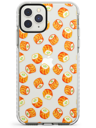 Salmon Rolls Sushi Watercolour Pattern Impact Phone Case for iPhone 11 Pro Max