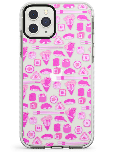 Bright Pink Sushi Pattern Impact Phone Case for iPhone 11 Pro Max