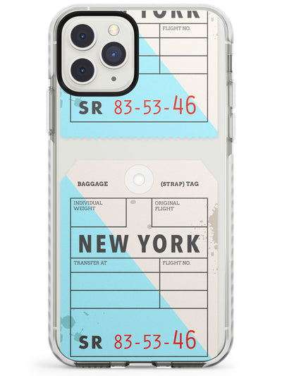 New York - Baggage Tag Design  Impact Phone Case for iPhone 11 Pro Max
