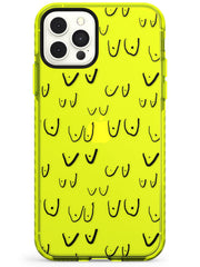 Boob Pattern (Black) Neon Yellow Impact Phone Case for iPhone 11 Pro Max