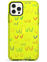 Boob Pattern (Mixed Colours) Neon Yellow Impact Phone Case for iPhone 11 Pro Max