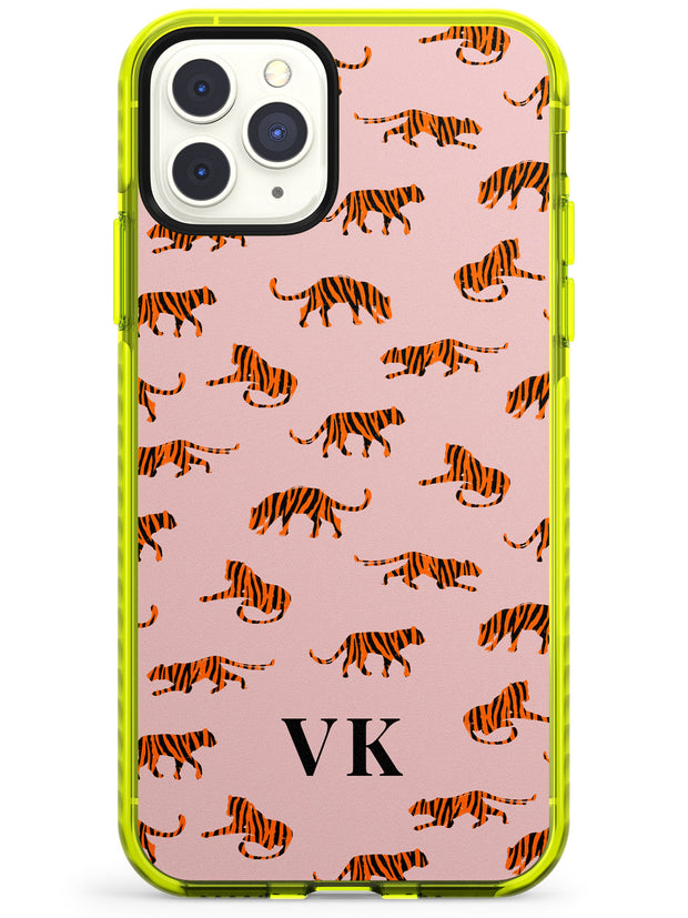 Safari Tiger Pattern on Pink iPhone Case  Neon Impact Custom Phone Case - Case Warehouse