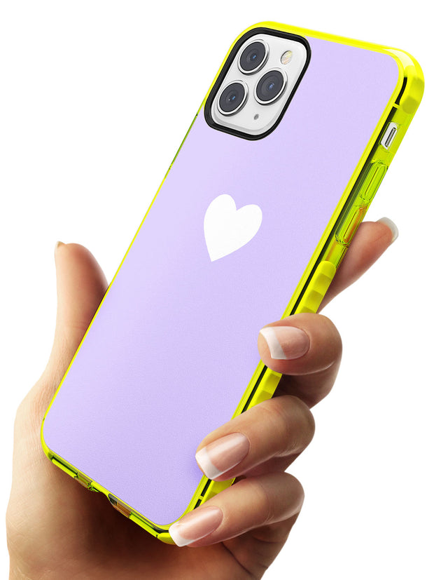 Single Heart White & Pale Purple Neon Yellow Impact Phone Case for iPhone 11 Pro Max