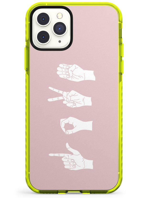 LOVE Sing Language Neon Yellow Impact Phone Case for iPhone 11 Pro Max