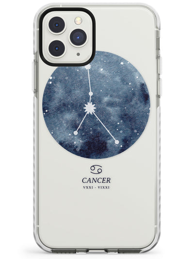 Cancer Zodiac Transparent Design - Blue Impact Phone Case for iPhone 11 Pro Max