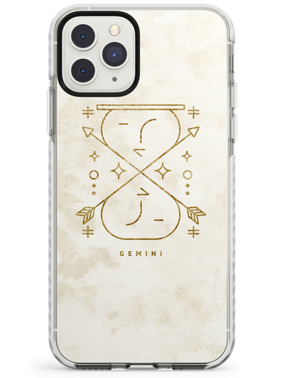Gemini Emblem - Solid Gold Marbled Design Impact Phone Case for iPhone 11 Pro Max