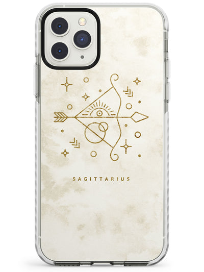 Sagittarius Emblem - Solid Gold Marbled Design Impact Phone Case for iPhone 11 Pro Max