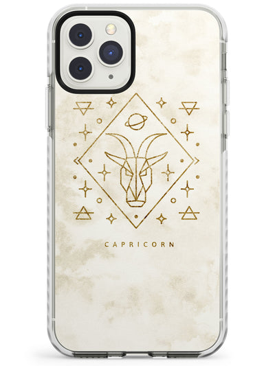 Capricorn Emblem - Solid Gold Marbled Design Impact Phone Case for iPhone 11 Pro Max