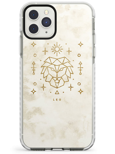 Leo Emblem - Solid Gold Marbled Design Impact Phone Case for iPhone 11 Pro Max