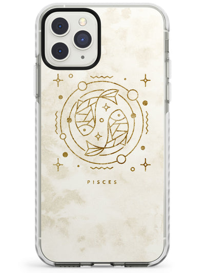 Pisces Emblem - Solid Gold Marbled Design Impact Phone Case for iPhone 11 Pro Max