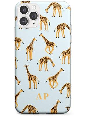 Personalised Safari Giraffe Pattern on Blue iPhone Case by Case Warehouse ®