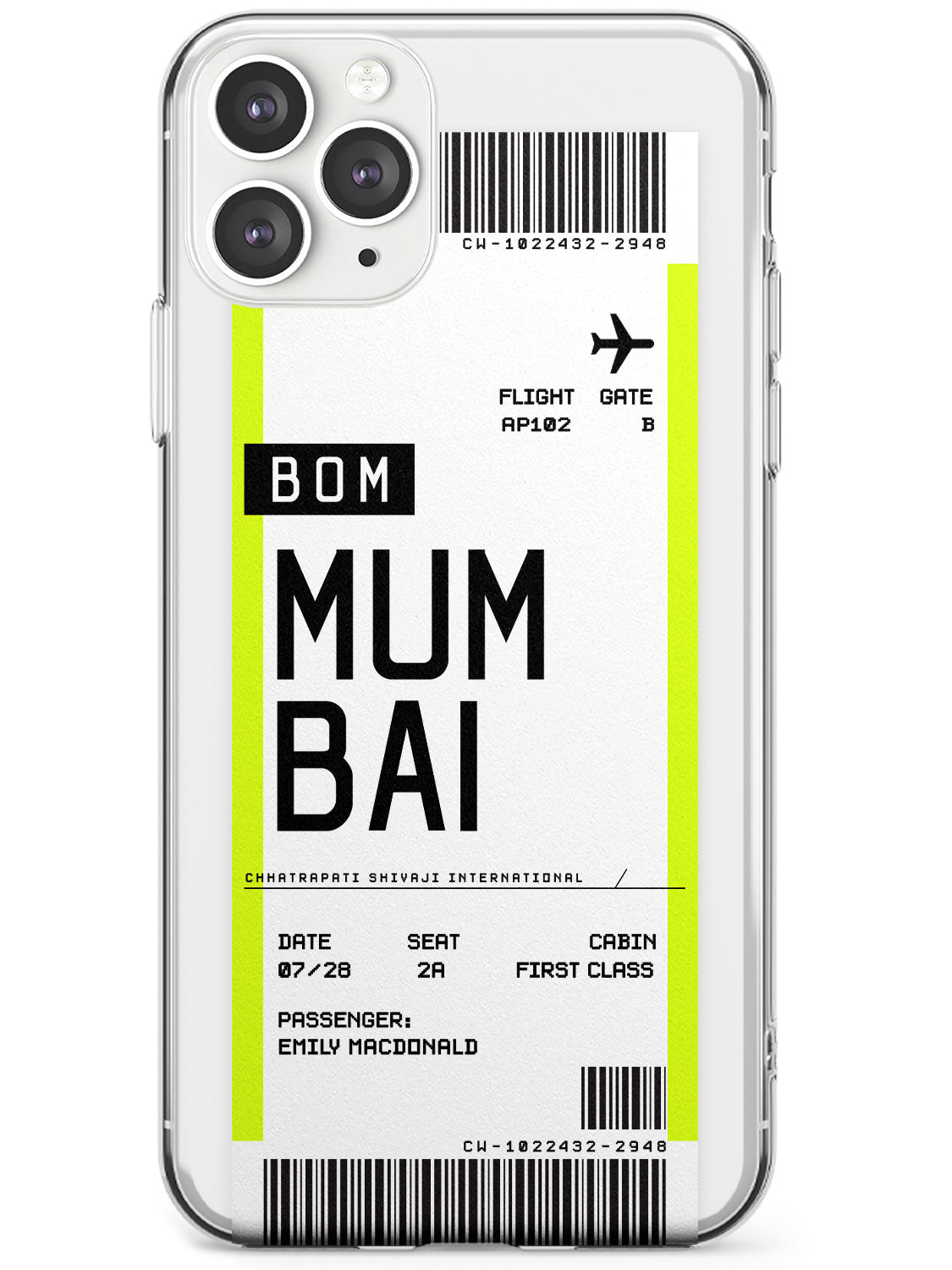 Mumbai Boarding Pass iPhone Case by Case Warehouse ®