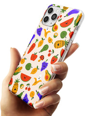 Mixed Kawaii Food Icons - Solid iPhone Case Slim TPU Phone Case Warehouse 11 Pro Max