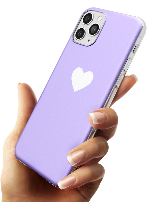 Single Heart White & Pale Purple Slim TPU Phone Case for iPhone 11 Pro Max