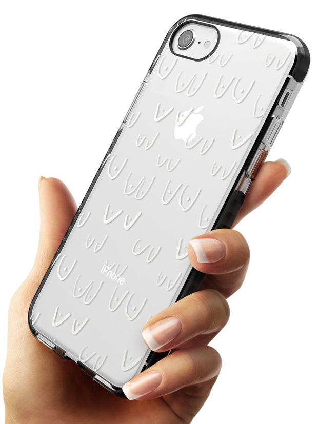 Boob Pattern (White) Black Impact Phone Case for iPhone SE 8 7 Plus