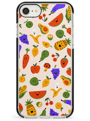 Mixed Kawaii Food Icons - Solid iPhone Case Black Impact Phone Case Warehouse SE 8 7 Plus