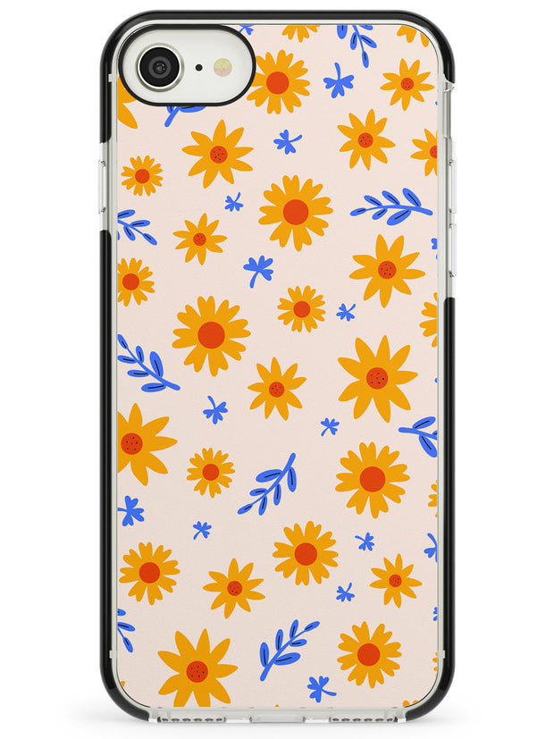 Cute Daisy Pattern - Solid iPhone Case Black Impact Phone Case Warehouse SE 8 7 Plus