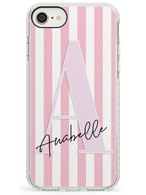 Pink Stripes & Large Monogram iPhone Case by Case Warehouse ®