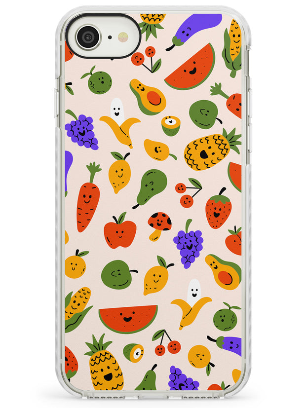 Mixed Kawaii Food Icons - Solid iPhone Case Impact Phone Case Warehouse SE 8 7 Plus