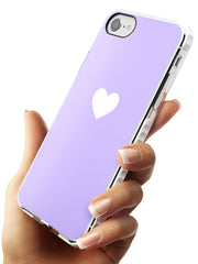 Single Heart White & Pale Purple Impact Phone Case for iPhone SE 8 7 Plus