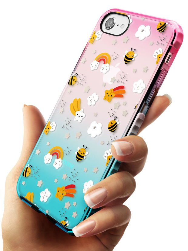 Busy Bee Pink Fade Impact Phone Case for iPhone SE 8 7 Plus