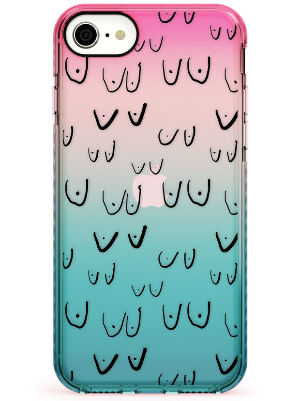 Boob Pattern (Black) Pink Fade Impact Phone Case for iPhone SE 8 7 Plus