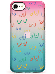 Boob Pattern (Mixed Colours) Pink Fade Impact Phone Case for iPhone SE 8 7 Plus