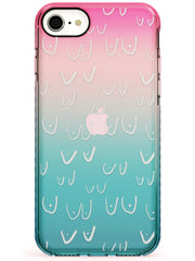 Boob Pattern (White) Pink Fade Impact Phone Case for iPhone SE 8 7 Plus