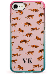 Safari Tiger Pattern on Pink iPhone Case  Pink Fade Impact Custom Phone Case - Case Warehouse