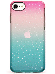 Celestial Starry Sky White Pink Fade Impact Phone Case for iPhone SE 8 7 Plus