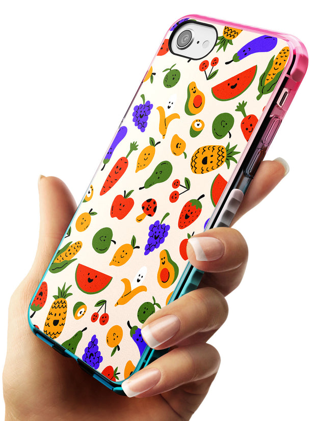 Mixed Kawaii Food Icons - Solid iPhone Case Pink Fade Impact Phone Case Warehouse SE 8 7 Plus