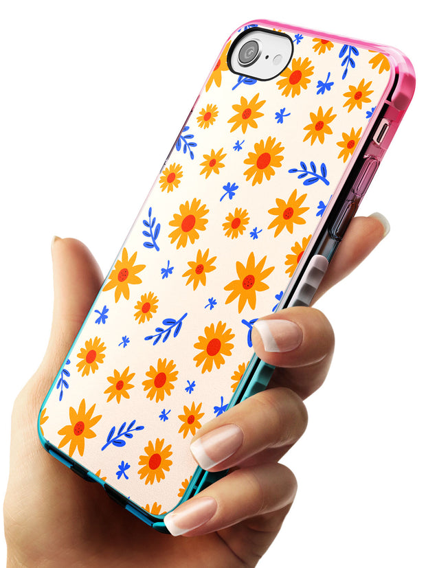 Cute Daisy Pattern - Solid iPhone Case Pink Fade Impact Phone Case Warehouse SE 8 7 Plus