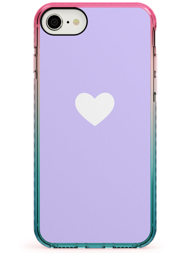 Single Heart White & Pale Purple Pink Fade Impact Phone Case for iPhone SE 8 7 Plus