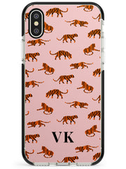 Safari Tiger Pattern on Pink iPhone Case  Black Impact Custom Phone Case - Case Warehouse