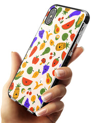 Mixed Kawaii Food Icons - Solid iPhone Case Black Impact Phone Case Warehouse X XS Max XR