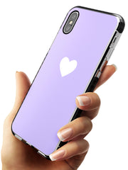 Single Heart White & Pale Purple Black Impact Phone Case for iPhone X XS Max XR