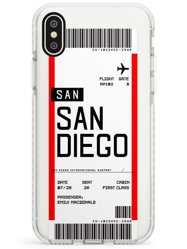 San Diego Boarding Pass iPhone Case  Impact Case Custom Phone Case - Case Warehouse