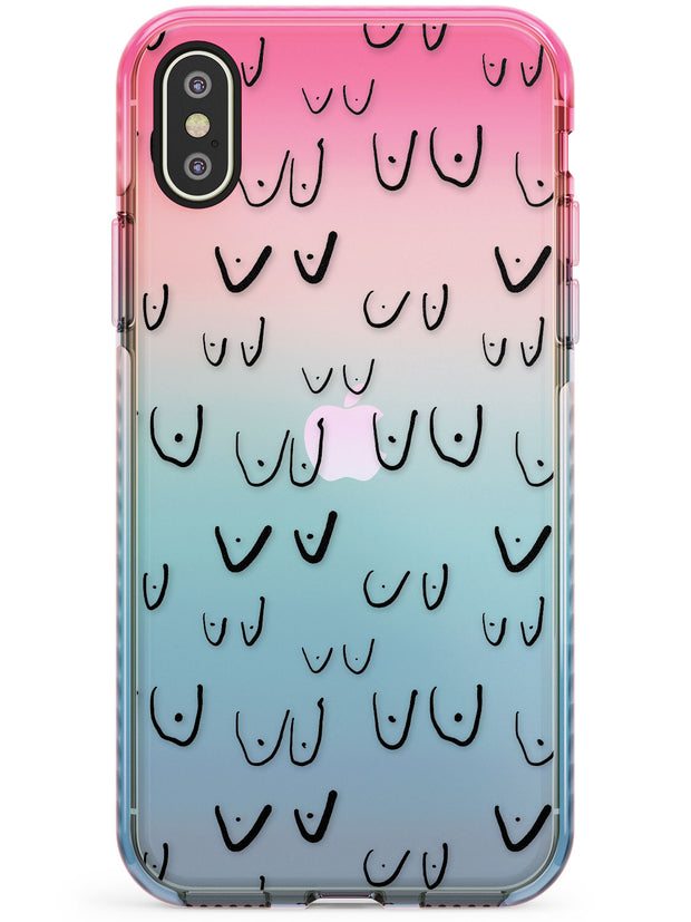 Boob Pattern (Black) Pink Fade Impact Phone Case for iPhone X XS Max XR